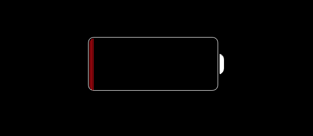 Image of black screen with battery icon which is a battery with small glowing red area showing the amount of battery left to represent a time when low power ode is needed.