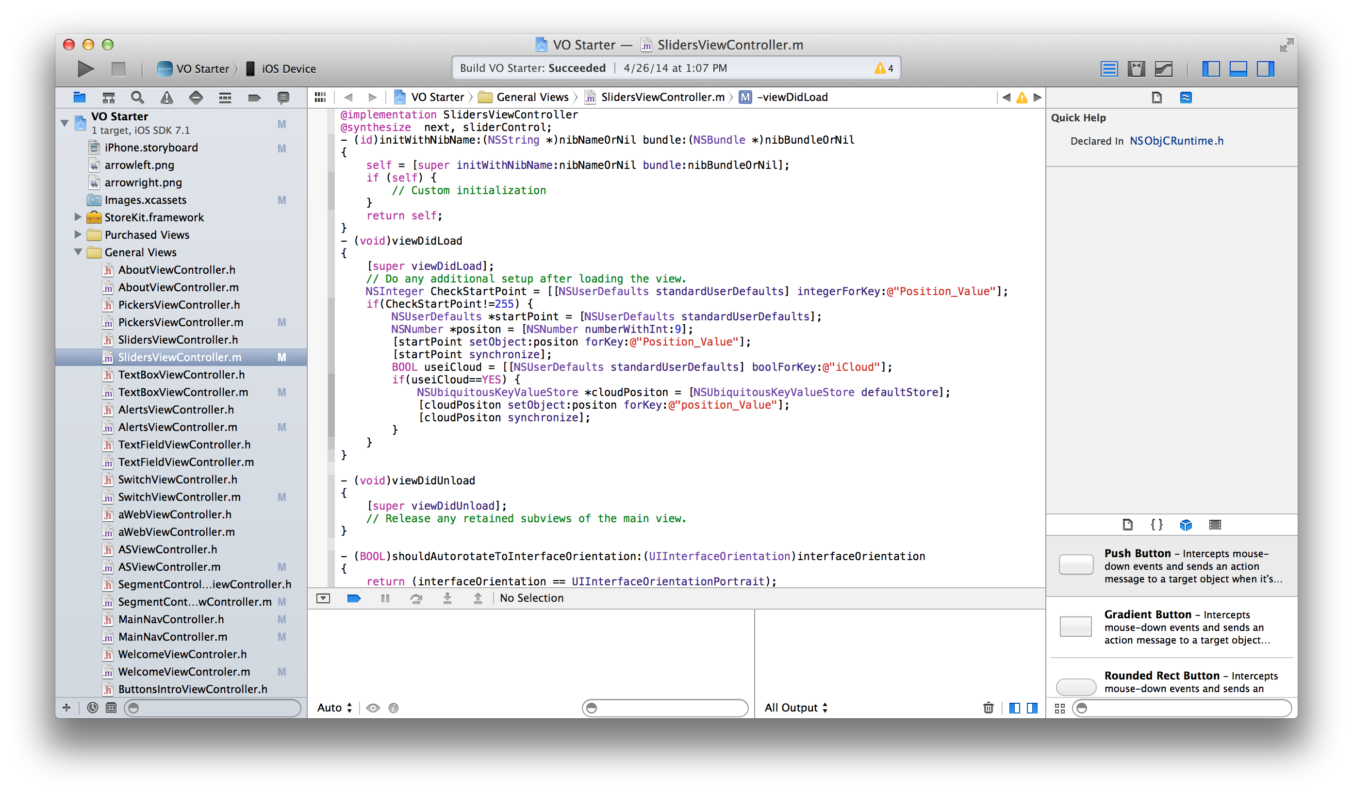 Screenshot of XCode