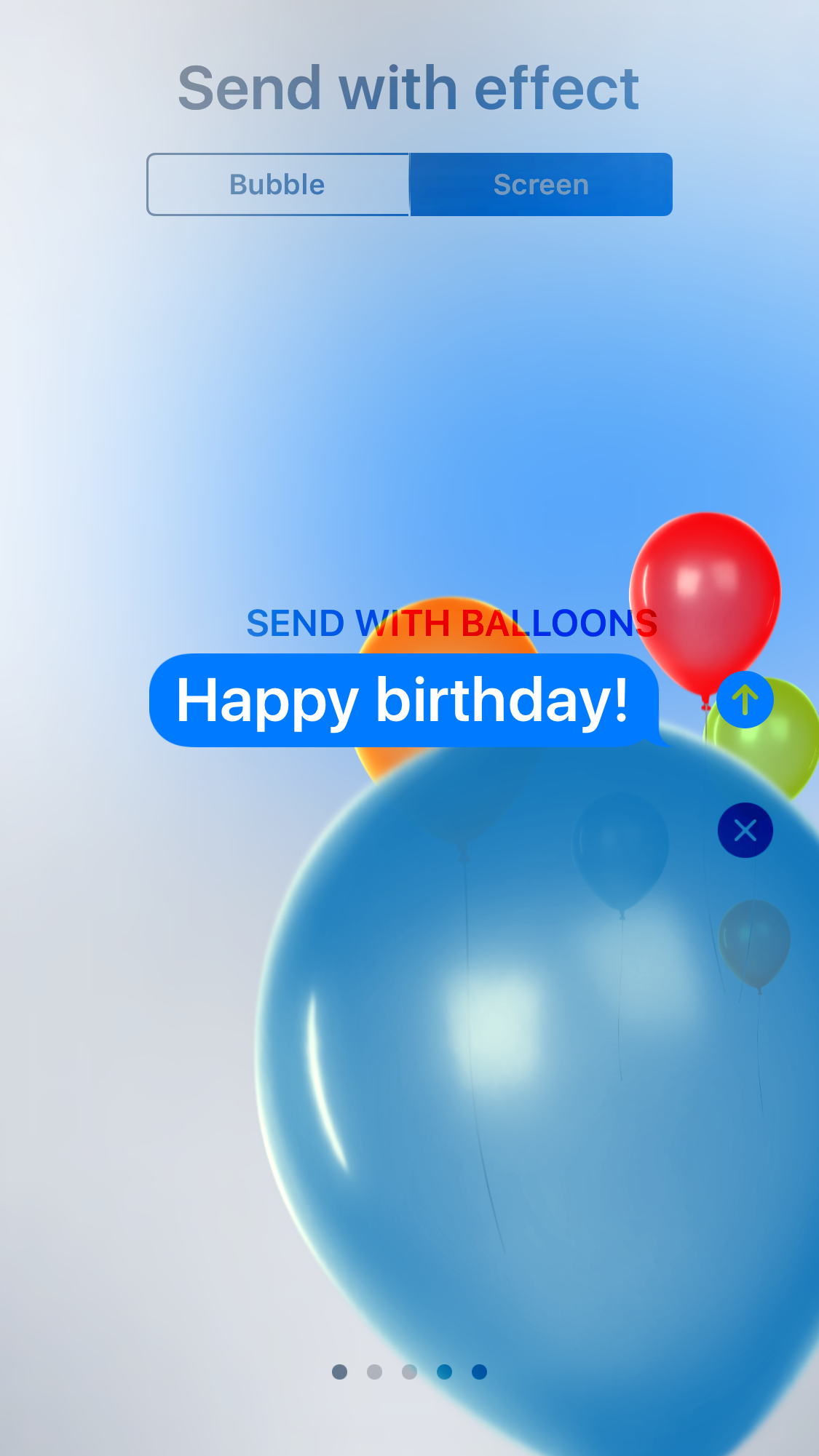 "Image shows the balloons full screen iMessage effect, with ""Happy birthday"" written as the text."