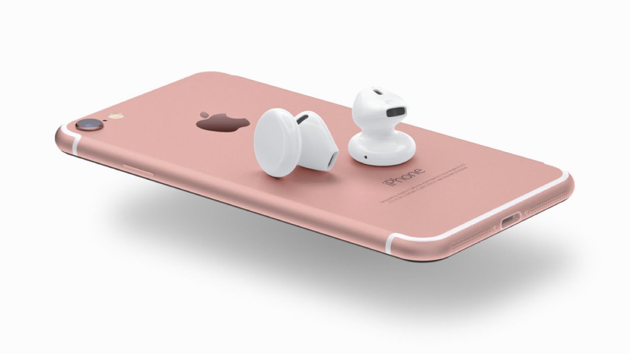 Image of Apple Airpods sitting on top of Rose Gold iPhone 7