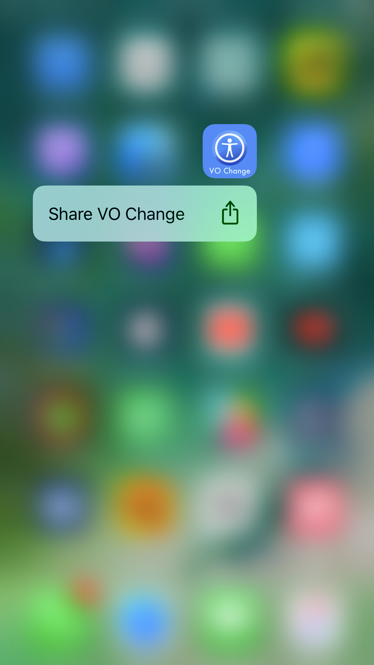 Image showing VO Change app icon with Share 3D Touch Item.