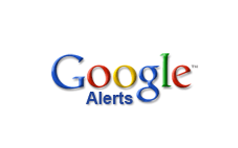 Google Logo with Alerts in blue under the word Google
