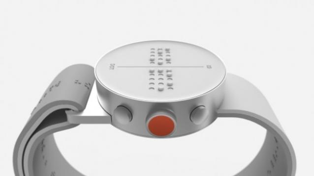 Dot Watch with four Braille cells and orange crown