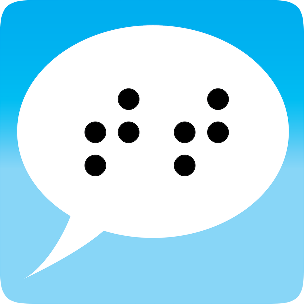 Talking Typer iOS logo with a chat bubble and the braille letters tt