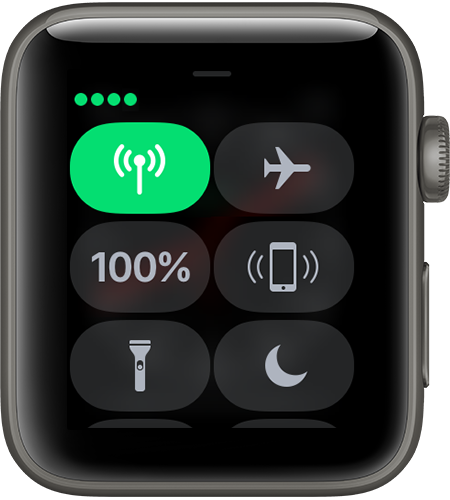 watchOS 4 ceramic series3 control center connected to device