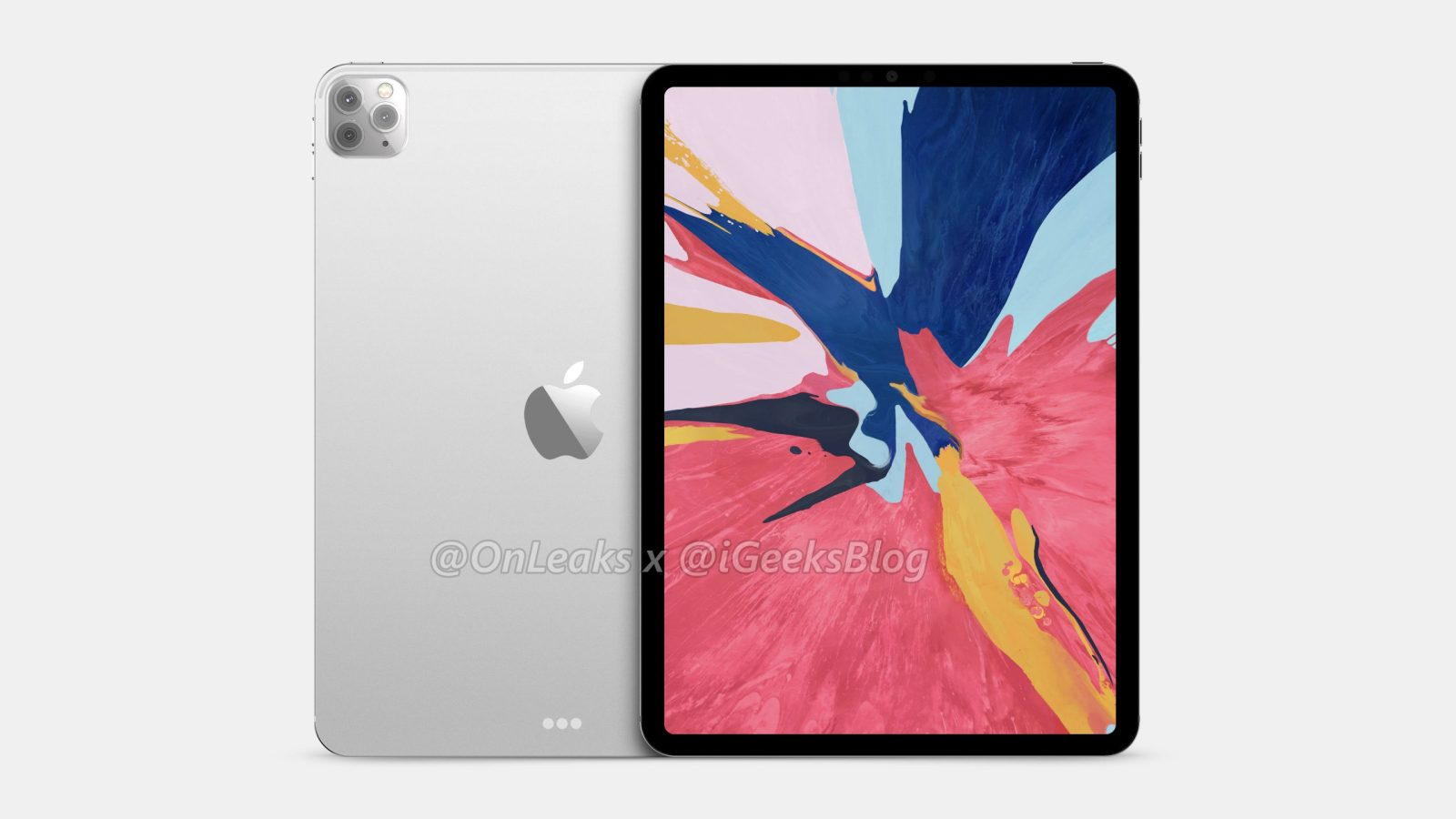 iPad Pro 2020 Front and Back showing screen and cameras