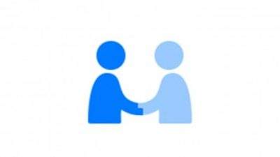 Apple privacy icon with two blue characters shaking hands
