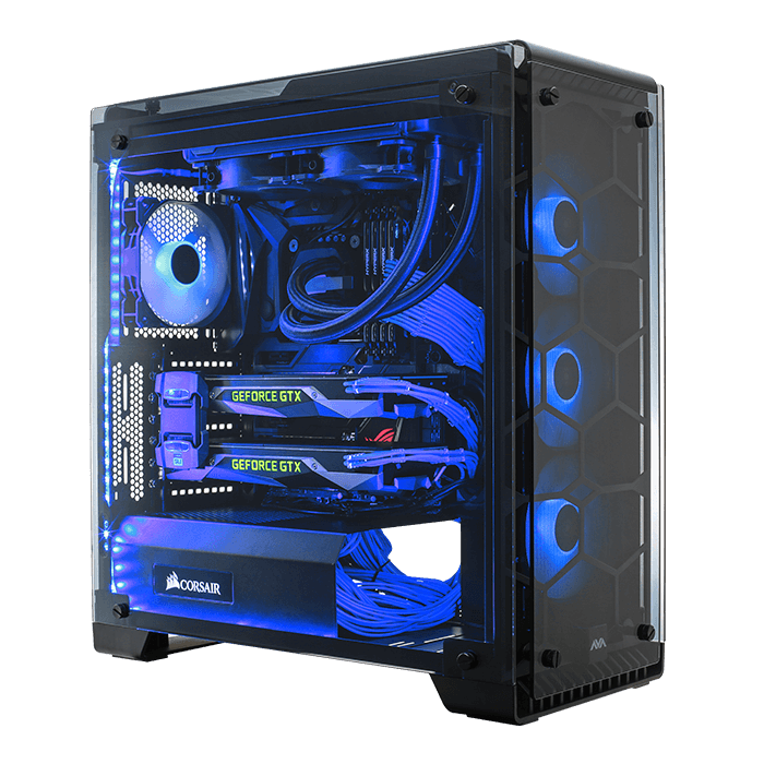 Blue LED fan gaming PC case