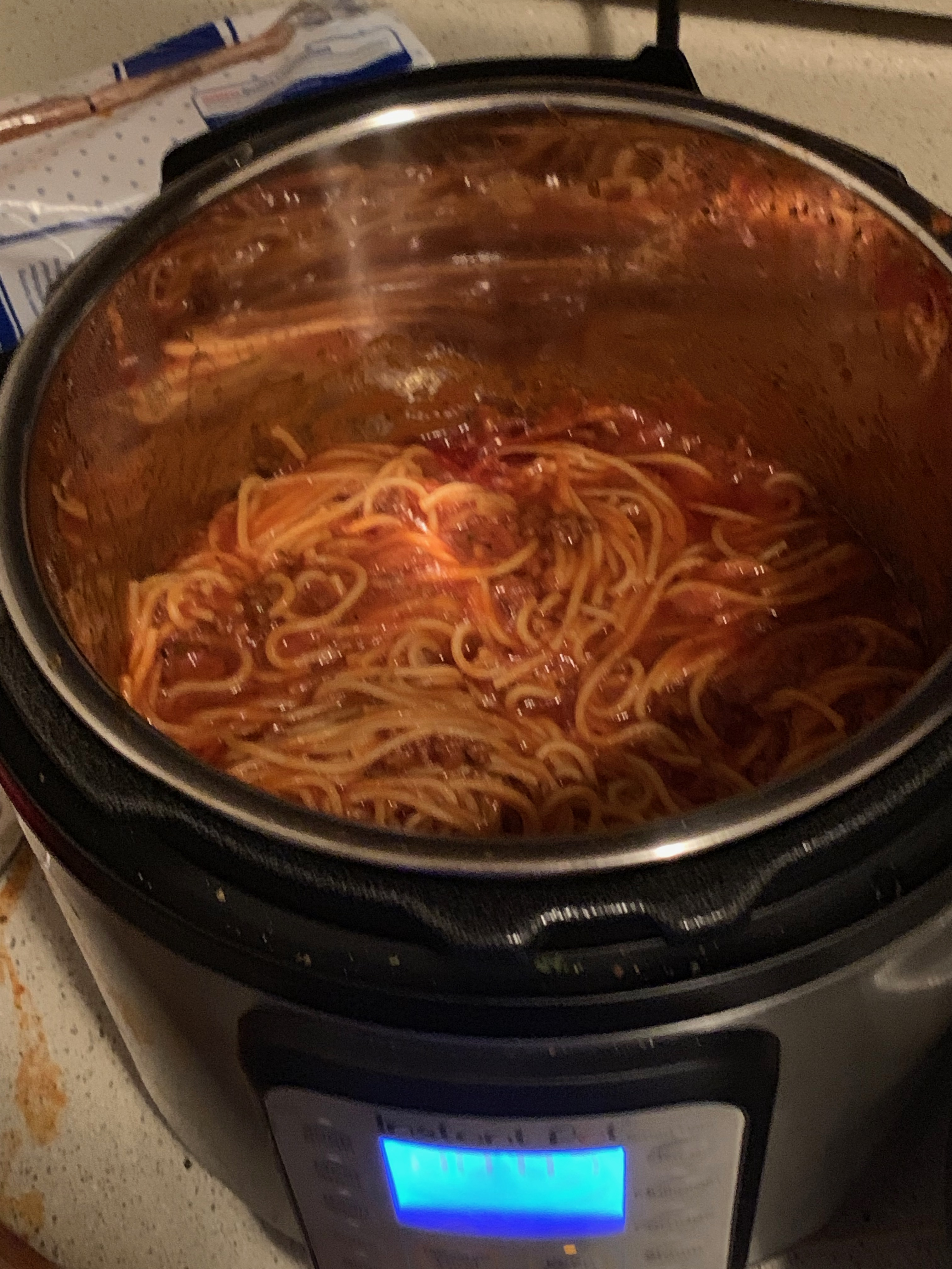 Instant Pot with Spaghetti.