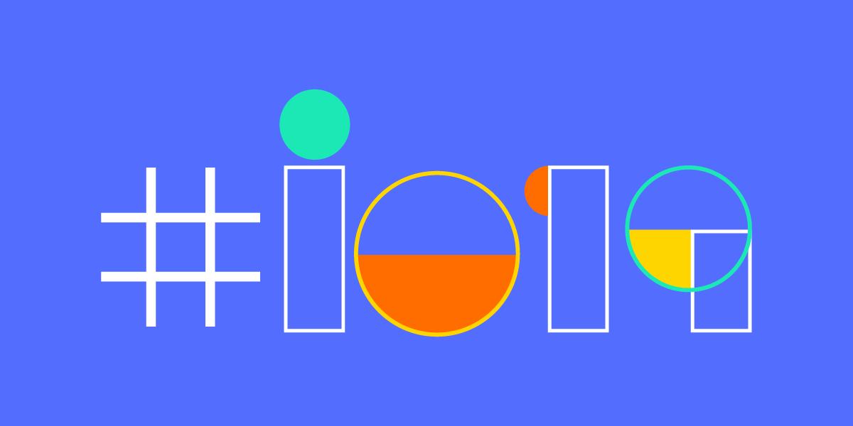 Blue Google I/O 2019 logo.