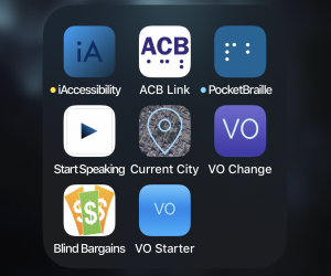 iAccessibility apps. iAccessibility, PocketBraille, Start Speaking, Current City, Vo Starter, VO Change, ACB Link, Blind Bargains.