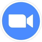 Blue circle with video icon in white